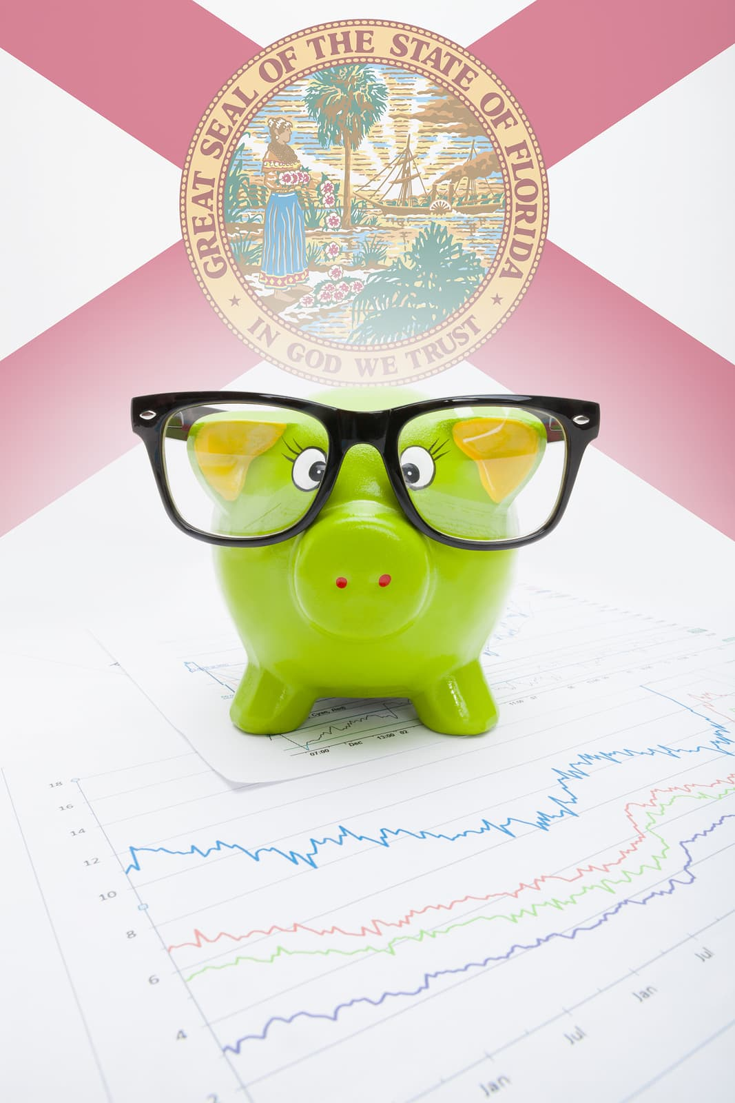 piggybank with glasses in Florida