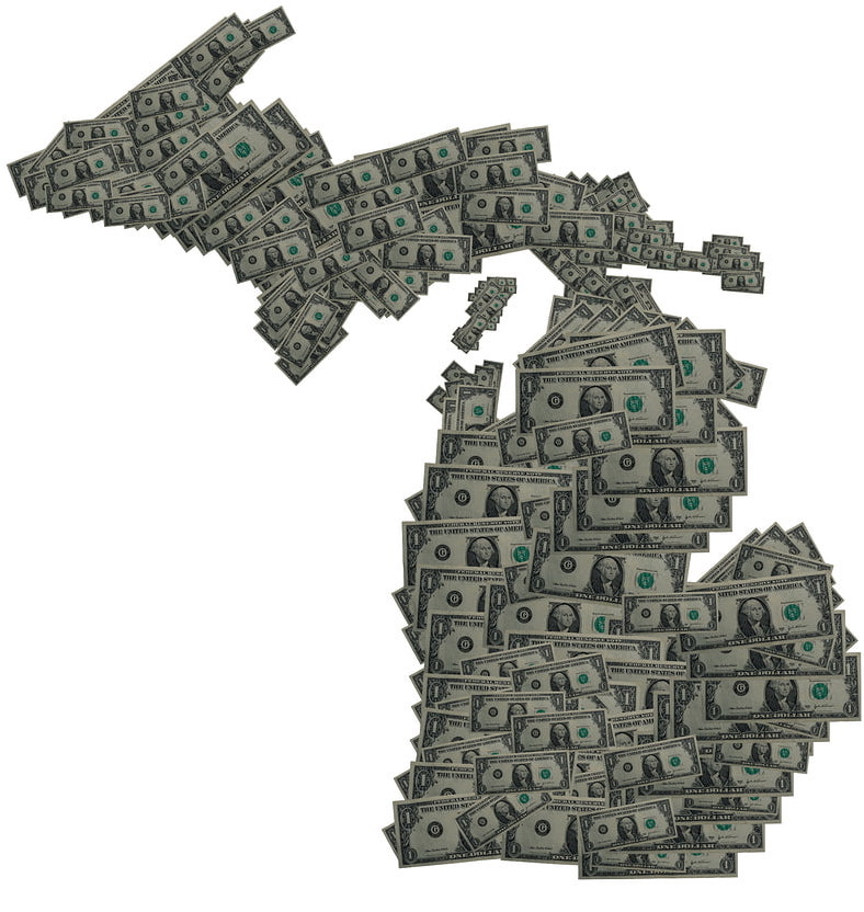 Cash in the shape of Michigan