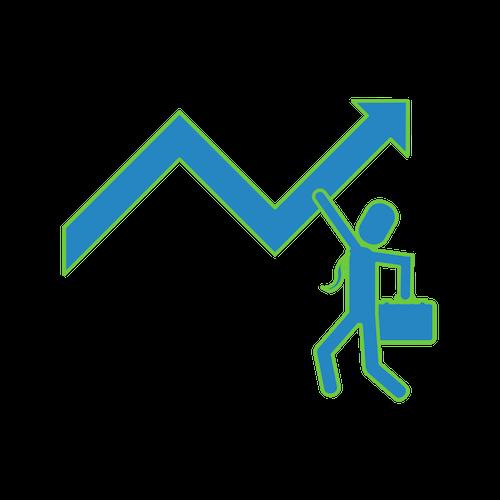 a man holding an arrow icon
