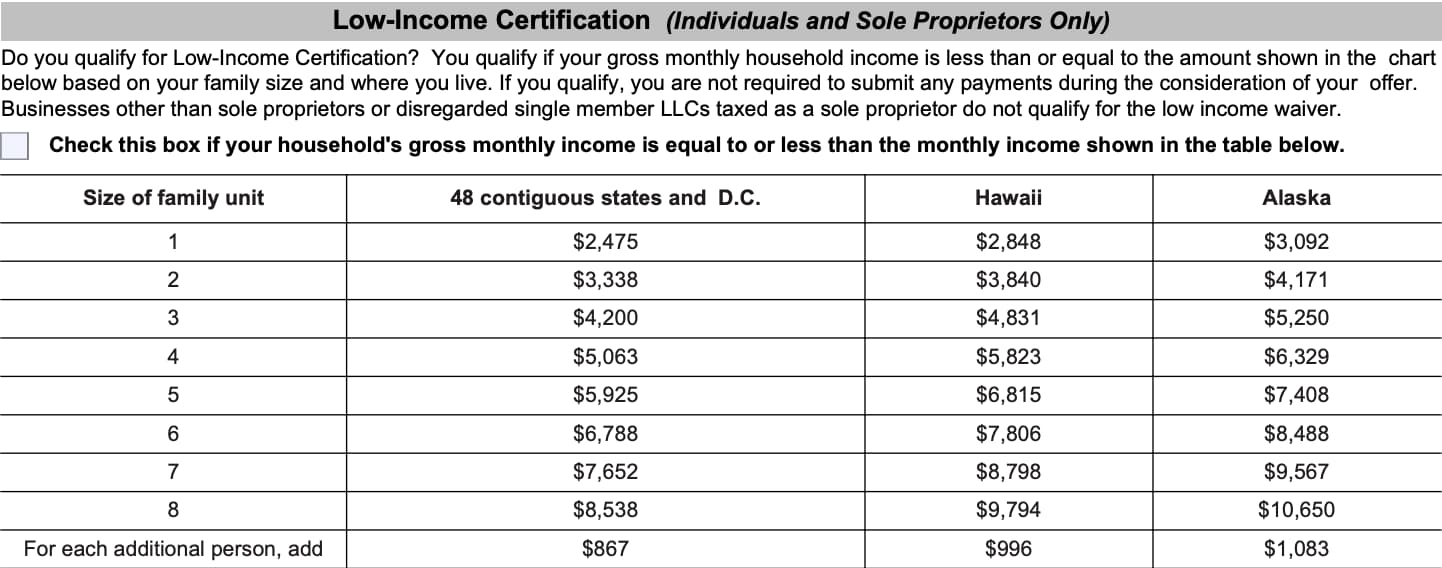 irs form 656 Low-Income Certification (Individuals and Sole Proprietors Only)