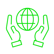 green version of globe hands