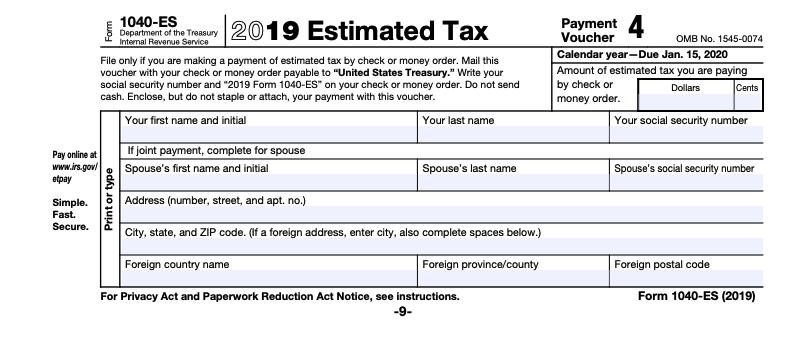 2019 1040-es IRS tax form