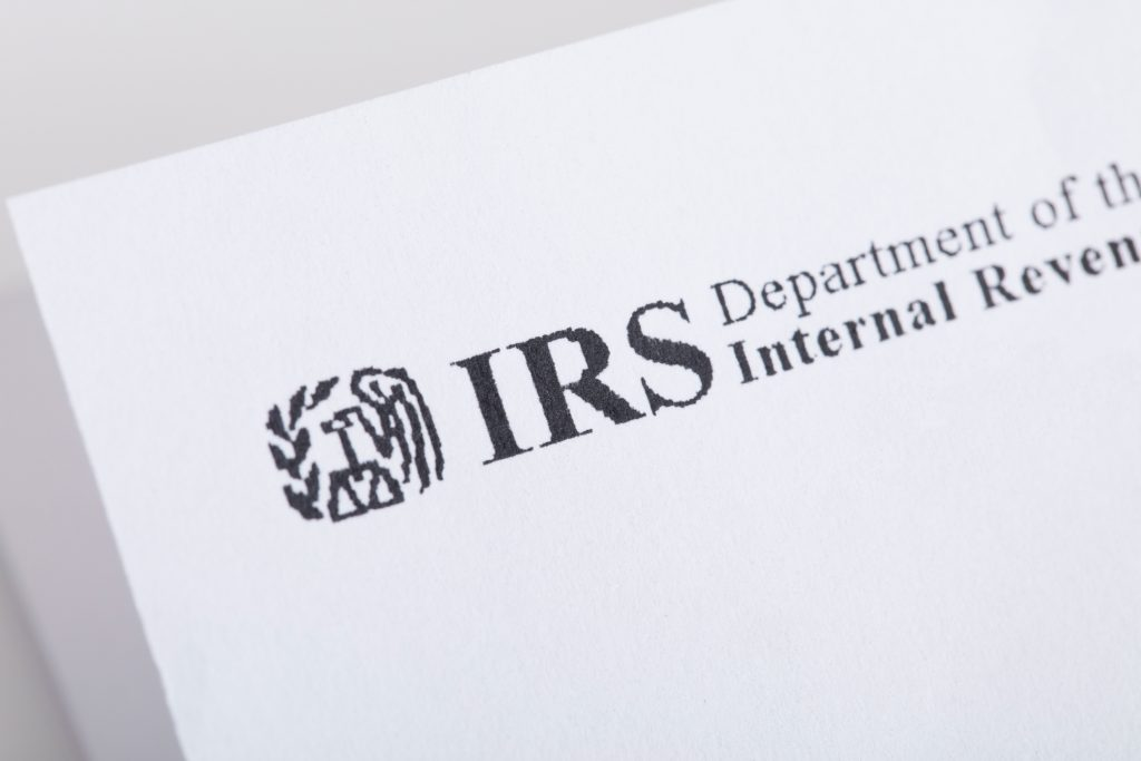 A close up shot of IRS letterhead.