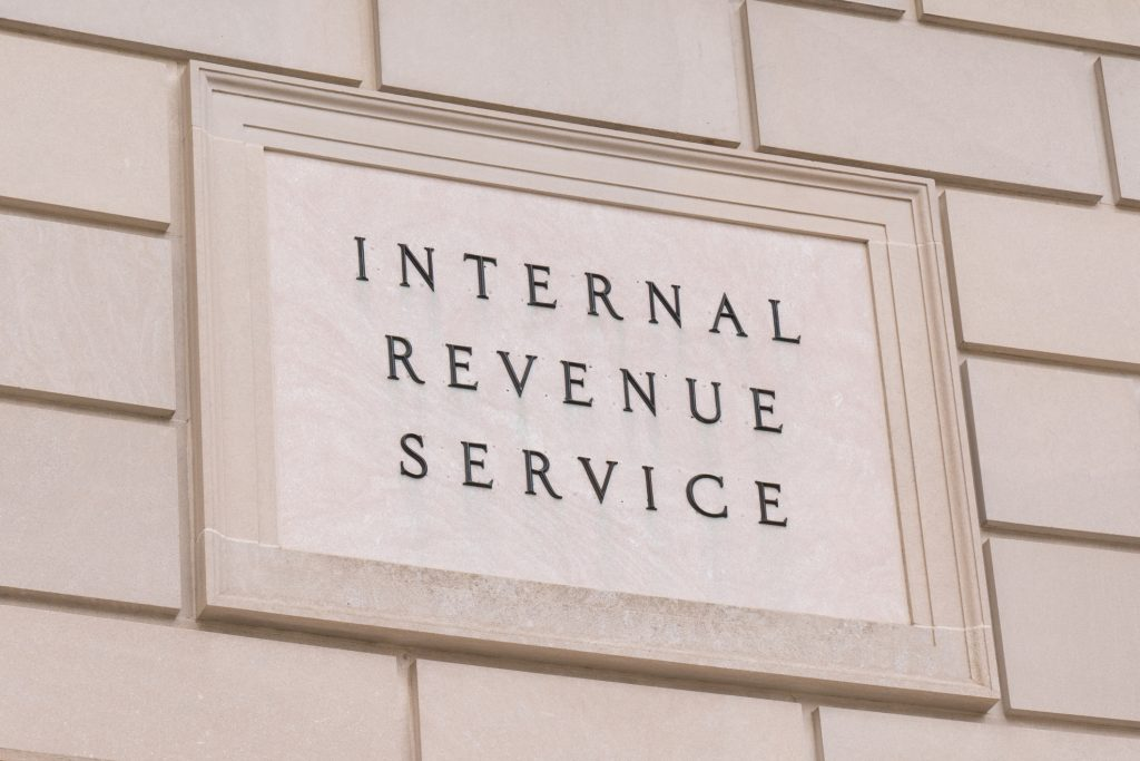 The stone facade of the IRS building in Washington D.C.