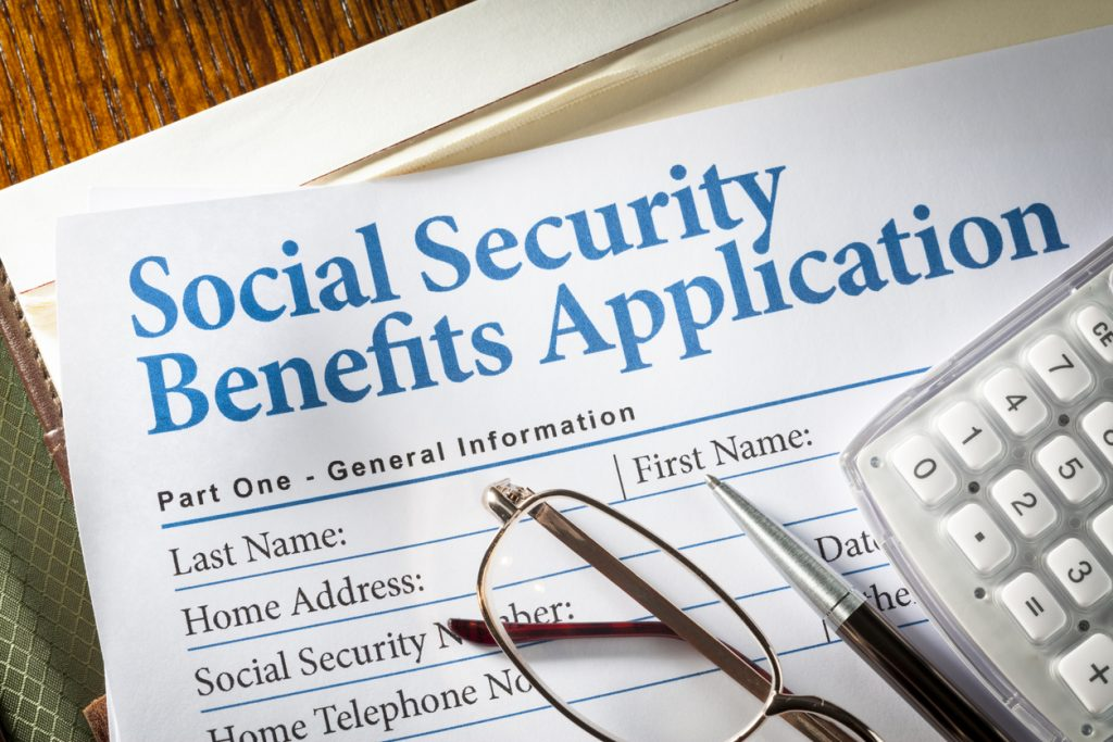 Social Security Employee benefits application, IRS forms concpet