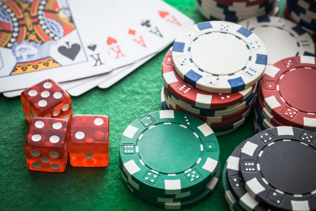 poker chips with dice