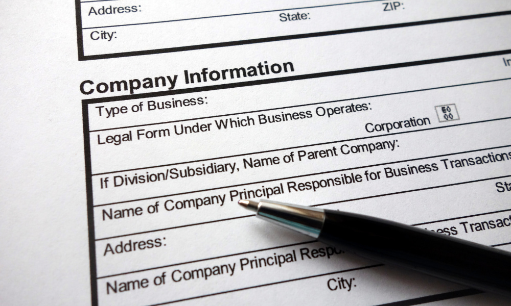 company information required for form 8832