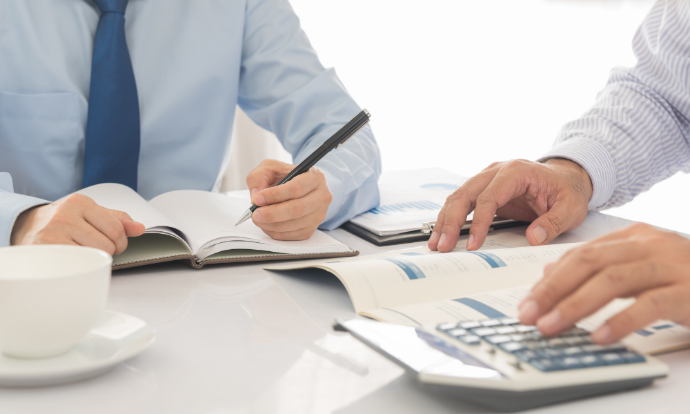 man working with a tax advisor performing double-entry accounting