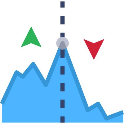 stocks down icon
